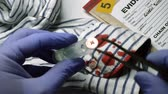 証拠 : Police expert examines blood in a button of a shirt the scene of a crime