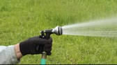 ręka : hand holding a hose nozzle while watering a garden Wideo