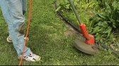 техника : using an electric weed cutter to trim around a flower garden
