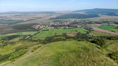 Aerial hungarian landscape footage from a hill Csobanc, near a lake Balaton Wideo