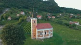birdseye : Small chapel on a mountain Saint George in Hungary, near the lake Balaton. Stock Footage