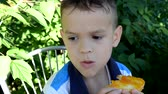 recessão : cute boy eating a sandwich sandwich with jam on nature. Happy. the sun is shining. healthy breakfast. cheerful schoolboy eating healthy lunch outdoor Stock Footage