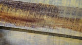 estanho : female hand paint wooden surface with brown paint using a paintbrush, protect the wood