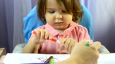 guache : Little girl painting at table, creativity development, draw a picture, early start, preschool concept
