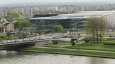 seminário : KRAKOW POLAND  APR 25 2015: Krakow International Conferences and Entertainment ICE Krakow Congress Centre multifunctional complex located on Vistula river opened in 2014 useful area 37.015 m2. Stock Footage