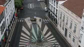 san miguel : PONTA DELGADA AZORESPORTUGAL  JUN 15 2015: Top view of Praca da Republica in Ponta Delgada. City is located on Sao Miguel Island 232.99 km2 Region capital under the revised constitution of 1976. Stock Footage