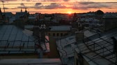 establishing shot : View over the rooftops of the historic center of St. Petersburg, Russia during an amazing sunset. Stock Footage