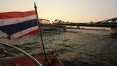 praya : Local transport boat on Chao Phraya river in Bangkok, Thailand. Stock Footage