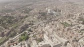 Aerial view of Rome, Italy. Coliseum. Drone flying above city center. Birds eye view of Italian ancient city.