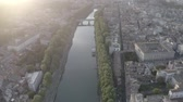 flavian : Aerial footage of the Tiber River and center of Rome, Italy. Coliseum. Ancient capital. From drone. Stock Footage