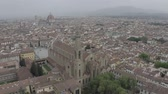 Aerial view of Cathedral Santa Maria del Fiore and Palazzo Vecchio near Arno River. Florence historical center from drone. Tuscany, Italy. LOG. Stockvideo