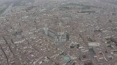 Aerial view of Santa Maria del Fiore Cathedral in historical center of Florence, Italy. Orange roofs. Italian Tuscany landscape. LOG.
