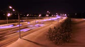 Night Winter traffic Stock Footage