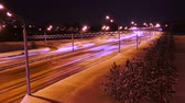 Winter night highway Stock Footage