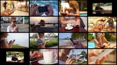 mobile phone : Montage Modern People Using Smartphone. Technology Concept Stock Footage