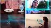 definition : Collage Futuristic Hologramic Technology. Hi-tech Concept