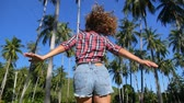 hipster : Happy Lifestyle Concept - Beautiful Woman Enjoying Summer and Dancing Outdoors. Slow Motion.  HD, 1920x1080.