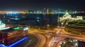 Doha skyline timelapse video night lights skycreapers downtown Qatar, Middle East
