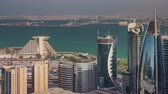 Doha skyline downtown skycreapers timelapse video from rooftop Qatar, Middle East