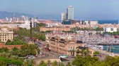 catalão : BARCELONA, CATALONIA - JULY 26th 2017: Timelapse city centre old buildings rooftop streets