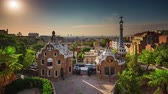 catalão : BARCELONA, CATALONIA - JULY 26th 2017: Timelapse Park Guel Gaudi architecture from above sunny day