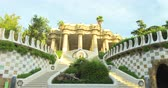 antonio : BARCELONA, CATALONIA - JULY 26th 2017: View of Guell park Barcelona city colorful sunny day Stock Footage