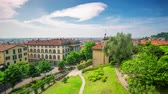 eu : BERGAMO, ITALY - MAY 3, 2017 - timelapse of old city centre from above. Historical architecture. Stock Footage