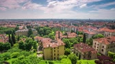 나는 : BERGAMO, ITALY - MAY 3, 2017 - timelapse of old city centre from above. Historical architecture. 무비클립