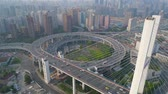 SHANGHAI, CHINA - MAY 5, 2017: Aerial view of Nanpu bridge highway junction, modern architecture