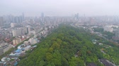 day time famous wuhan city square park aerial panorama Stock mozgókép