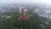 WUHAN, CHINA - MAY 2017: day time famous wuhan city museum revolution square park aerial panorama