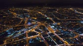 belarus : Winter drone shot Minsk city in the night residential and business buildings from above aerial Stock Footage