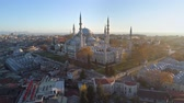 middle eastern : The Blue Mosque Sultanahmet in Istanbul, Turkie. Aerial drone view Shot. Blue sky, sunset.