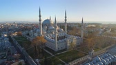 beute : The Blue Mosque Sultanahmet in Istanbul, Turkie. Aerial drone view Shot. Blue sky, sunset.