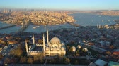 The Blue Mosque Sultanahmet in Istanbul, Turkie. Aerial drone view Shot. Blue sky, sunset.