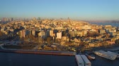 bosphorus : Aerial drone shot of sunset in Istanbul, Turkie. From above, city centre, downtown. Bosphorus