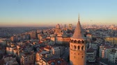 türk : Galata tower in Istanbul, Turkie. Aerial drone shot from above, city centre, downtown. Sunset.