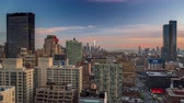 beautiful building : Sunset over Manhattan Midtown skyline, sun reflections on buildings. New York City, NYC. timelapse. Stock Footage