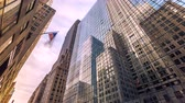 beautiful building : Motion timelapse of Manhattan street in Midtown, skycrapsers reflections on buildings. New York City