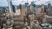 beautiful building : New York Manhattan Rooftop view Day Timelapse clouds passing by