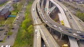 verrazano : Aerial view of interchange of Verrazano bidge in Brooklyn, New York City. NY from above Hudson river Stock Footage
