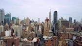 upper east side : Aerial view of New York, Lower Manhattan. Residental and financial business buildings from above. Stock Footage