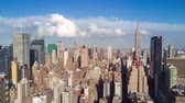 viagens de negócios : NEW YORK, USA - MAY, 2018: Aerial view of Manhattan, tall buildings. Sunny day, aerial timelapse dronelapse.