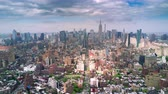 Aerial view of Manhattan, New York City. Tall buildings. Sunny day, aerial timelapse dronelapse