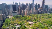 upper east side : Aerial view of Central Park, Upper East and West Side Manhattan and Midtown Manhattan, New York, USA