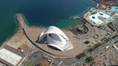 SANTA CRUZ DE TENERIFE, SPAIN - MAY, 18, 2018 Aerial view of Auditorio de Tenerife from above.