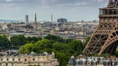 파리 : PARIS, FRANCE - JUNE 19, 2018: Eiffel Tower day timelapse. Fast movement.