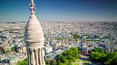 küçük kilise : Panorama of Paris timelapse. Top view from Sacred Heart Basilica of Montmartre . Sunny day.