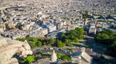 tetőtéri : Panorama of Paris timelapse. Top view from Sacred Heart Basilica of Montmartre . Sunny day.