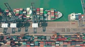 Šanghaj : HONG KONG - MAY 1, 2018: Aerial view of a modern port container terminal. Import and export, business logistic.